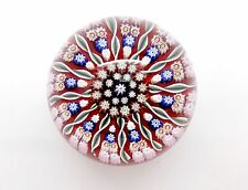 1970'S PERTHSHIRE MEDIUM PP6 RED HOLLOW GROUND CONCENTRIC MILLEFIORI PAPERWEIGHT