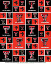 Cotton University of Texas Tech Red Raiders College Cotton Fabric Print D663.18