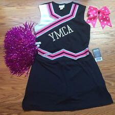 CHEERLEADER HALLOWEEN COSTUME OUTFIT BLK SILVER PINK LADIES PLUS 14-16 POM POMS