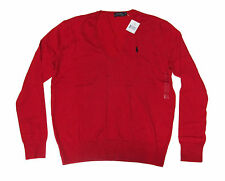 Polo Ralph Lauren Womens Grey Red Navy V Neck Slim Cotton Knit Pony Logo Sweater