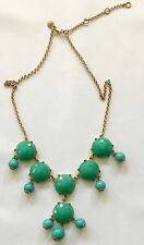 Signed J Crew Bauble Bubble Necklace Gold Tone Turquoise Bold Chunky Statement