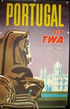 TWA FLY PORTUGAL Vintage Travel poster 1962 25x40 AIRLINES DAVID KLEIN Not repro