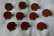 job lot NFA charity ten (10) hedgehogs pin lapel badges