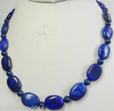 Natural Oval Lapis Lazuli 13x18mm Dark Blue Beads Necklace 18''
