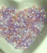 100 Austrian Crystal Glass Bicone Beads  -Lilac,  Pink, White AB Mix 4mm