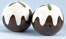 Christmas Pudding Salt & Pepper Cruet Set Xmas Dinner Table NEW 12828