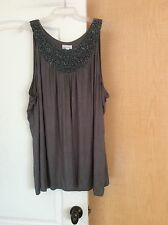 NEW Fashion Bug - Grey beaded front women tunic top Plus Size 3X