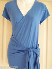 NEW~JOJO MAMAN BEBE~MATERNITY WRAP TOP XS 6 JERSEY CORNFLOWER BLUE