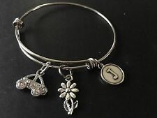 VW Beetle (Car) Bling Stainless Steel Bangle Adjustable Personalized Bracelet