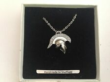 Greek Helmet GRH/PT english pewter 3D Platinum Necklace Handmade 18 INCH