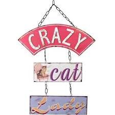 CRAZY CAT LADY WALL HANGING TRIPLE METAL PLAQUE SIGN PLAQUE FUN GIFT CAT OWNERS