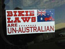 BIKIE LAWS ARE UN AUSTRALIAN HELMET STICKER *** Car Decal **  BUY IT NOW **