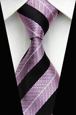 PRICED 2 GO!! Mens Skinny Retro Textured Stripe Silk Necktie Tie Soft Pink Black