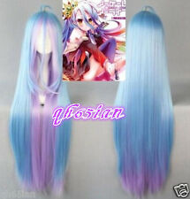 NEW NO GAME NO LIFE Shiro Anime Long Blue Mixed Pink  Cosplay Hair Wigs +wig cap
