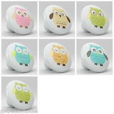 set of 7 WHIMSICAL OWLS Nursery Ceramic Knobs Pulls Closet Drawer Dresser 1101
