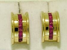 E030-  WIDE Genuine 9ct Solid Gold,NATURAL RUBY Half HOOP Earrings Channel set