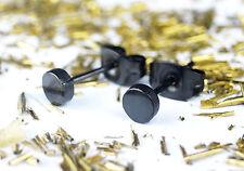 URBAN Black Round Stainless Steel Screw 4mm Small Pair Stud Earrings MEN WOMEN