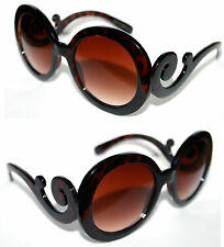 Women's Boho Sunglasses Retro brown Tortoise Baroque Round Butterfly Clouds 449