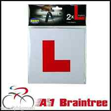 2x FULLY MAGNETIC L PLATES - PAIR LEARNER DRIVING TEST MAGNET FULL PLATE