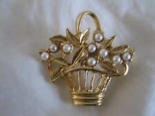 Fashion Brooch White Faux Pearl Bead Flower Floral Basket Goldtone