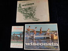 1963 Official Wisconsin Road Map + Tourist Travel Information Kit Lot of 3  MINT