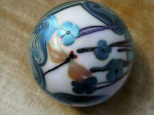 """Vintage ORIENT AND FLUME DRAGONFLY PAPERWEIGHT: Iridescent,Aqua Floral, 3"""", 1975"""