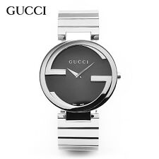 GUCCI watch YA133307 Interlocking G Black Dial Stainless Steel Mens Ladies Watch