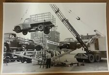 """12 By 18"""" Black & White Picture New Ford Trucks being Loaded by Detroit Crane Co"""
