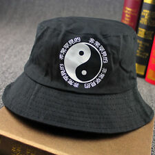 Men Cotton Bucket Hat Chinese Print Sun Hunting Fishing Outdoor Cap Black