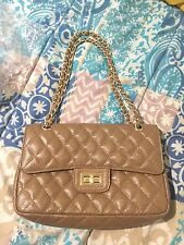 Pre Owned Zenith Real Leather Tan Quilted Chain Bag Women's Handbag Color Tan
