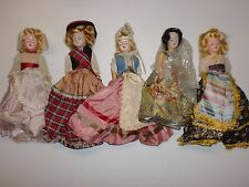 Lot of 5 Vintage International Souvenir Dolls in Costume Scotland India More