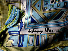 JOHNNY WAS Signature 100% Silk Scarf Geometric Designs Rolled Hand Stitched Edge