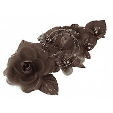 "3 brown Silk Pearl & organza flower  Corsages 5""x 2.5 with pearl pin"