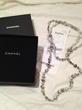 "NEW CHANEL WHITE PEARL BLACK POLLOCK GRAFFITI  NECKLACE w/ CC logos 60"" long"