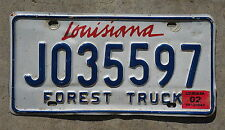 2002 LOUISIANA FOREST LICENSE PLATE