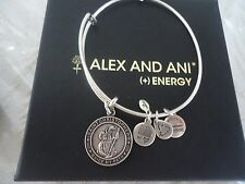 Alex and Ani SAINT CHRISTOPHER Russian Silver Charm Bangle NWT Card & Box