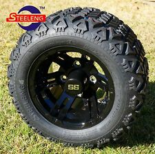 "GOLF CART 10"" BLACK BULLDOG WHEELS/RIMS and 18""x9""-10"" DOT ALL TERRAIN TIRES (4)"
