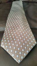 "HERMES ""PAD LOCK"" TIE SILK BROWN 5434 FA FRANCE"