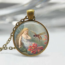 Vintage Fairy Pendant Fairy Necklace Honey Bee Pendant Glass Pendant