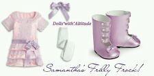 NEW American Girl Samantha's Pink Frilly Frock Dress Shoes Bow Tights COMPLETE