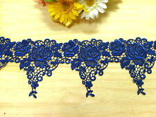 "DN738-4 "" Dark Blue Embroidered  Tulle Mesh Venise Lace  Trim by Yard"
