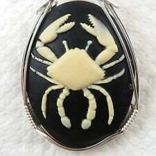 Cancer Zodiac Sign Cameo Pendant .925 Sterling Silver Jewelry Cream Resin Crab
