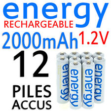 12 PILES ACCUS RECHARGEABLE AAA ENERGY NI-MH 2000mAh 1.2V LR03 LR3 R03 R3 ACCU