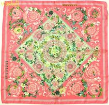 """VERSACE pink BAROQUE Butterfly Ladybug GARDEN silk 35""""-square scarf NWT Authentc"""