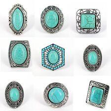 Wholesale Lot 8 Mixed Silver Tone Adjustable Turquoise Cabochon Boho  Rings