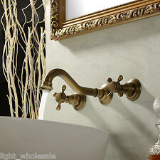 TOP Wall Mounted Two Handles Three Holes in Antique Brass Bathroom Sink Faucet