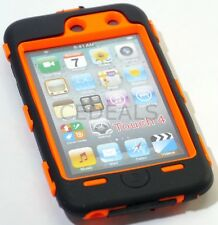 Impact Rugged Case for ipod Touch 4 4th Gen Black / Orange w/ Built in Screen