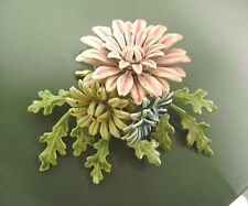 GORGEOUS VINTAGE SIGNED COROCRAFT ENAMAL, LAYERED RARE PINK,YELLOW,BLUE BROOCH!