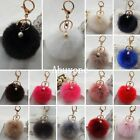 Soft Rabbit Fluffy Fur Pearl Ball Pom Phone Car Pendant Handbag Key Chain Ring