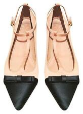 Tory Burch Leonie satin-trimmed leather point-toe bow flats 8